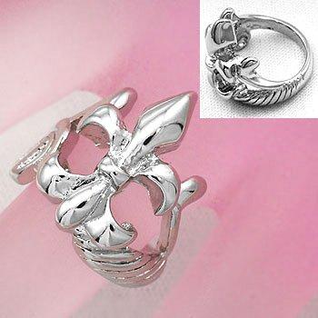 French Fleur De Lis Silver Tone Ring Size 5