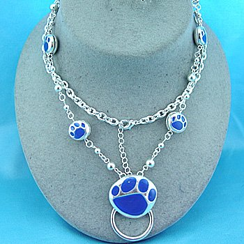 Blue Bear Paw Eye Glass Badge ID Holder Silver Tone Necklace