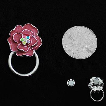 Pink Rose Flower Picture Badge ID Eye Glass Holder Brooch Pin