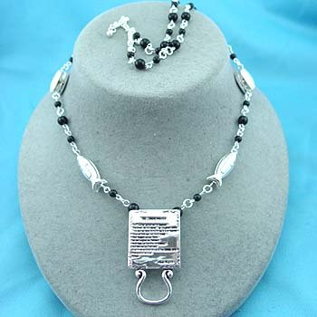 Religious Lords Prayer Eye Glass Badge ID Holder Silver Tone Necklace