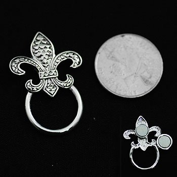 Texture French Fleur De Lis Picture Badge ID Eye Glass Holder Brooch Pin
