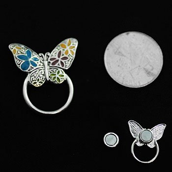 Butterfly Multicolor Picture Badge ID Eye Glass Holder Brooch Pin