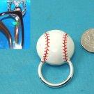 White Red Baseball Base Ball Picture Badge ID Eye Glass Holder Brooch Pin