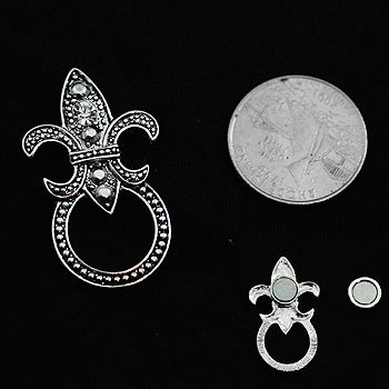 Marcasite Style French Fleur De Lis Picture Badge ID Eye Glass Holder Brooch Pin