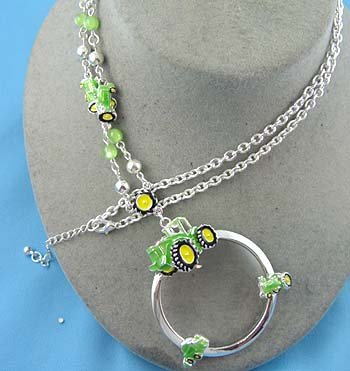 Tractor Eye Glass Badge ID Holder Silver Tone Necklace
