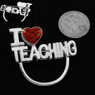 I Love Teaching Heart Picture Badge ID Eye Glass Holder Brooch Pin