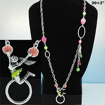 Multicolor Cheer Leader Eye Glass Badge ID Holder Silver Tone Long Necklace