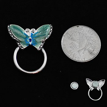 Blue Butterfly Picture Badge ID Eye Glass Holder Brooch Pin