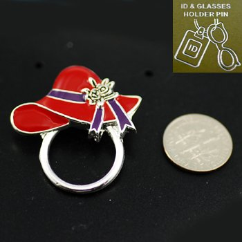 Red Hat Lady Ladies Eye Glass Badge ID Holder Silver Tone Necklace