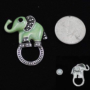 Green Elephant Eye Glass Badge ID Holder Silver Tone Necklace