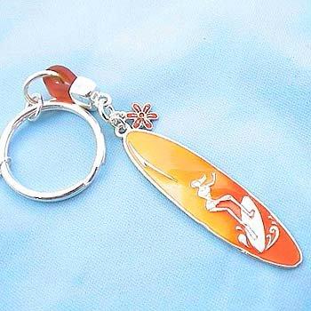 Orange Surf Board Surfboard Key Keychain