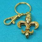 Gold Tone French Fleur De Lis Key Keychain
