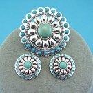 Blue Western Necklace Pendant Earring Set
