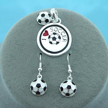 I Love Soccer Necklace Pendant Earring Set