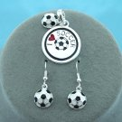 I Love Soccer Necklace Pendant Earring Set