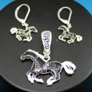 Black Western Horse Pony Necklace Pendant Earring Set