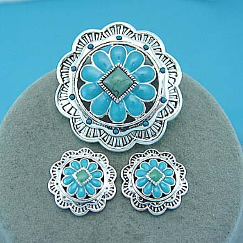 Western Blue Green Textured Necklace Pendant Earring Set