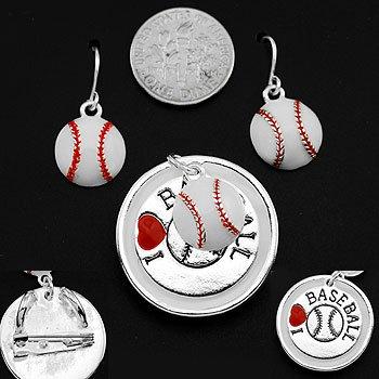 I Love Baseball Necklace Pendant Earring Set