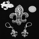 Textured French Fleur De Lis Silver Tone Necklace Pendant Earring Set