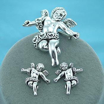 Cherub Angel Angels Silver Tone Necklace Pendant Earring Set
