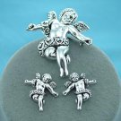 Cherub Angel Angels Silver Tone Necklace Pendant Earring Set
