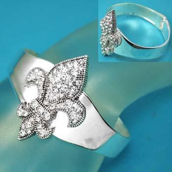 Silver Tone Clear Crystal French Fleur De Lis Bangle Bracelet