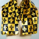 Black Gold Satin French Fleur De Lis Scarf