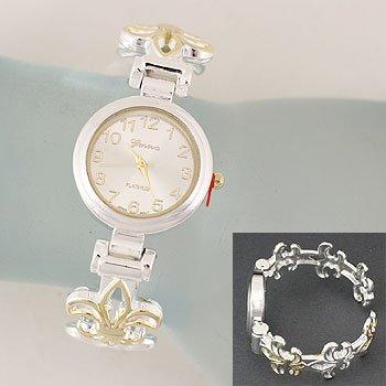 Fleur De Lis Two Tone Cuff Bangle Bracelet Watch