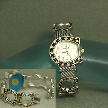 Western Horseshoe Horse Shoe Two Tone Bracelet Watch