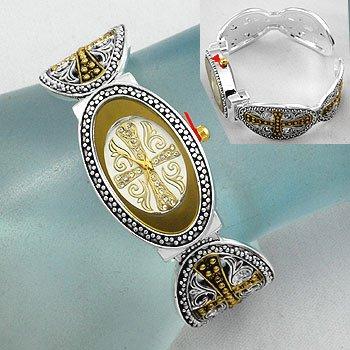 Religious Cross Cuff Bangle Bracelet Watch