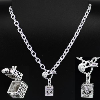 Religious Heart Love Prayer Box Necklace