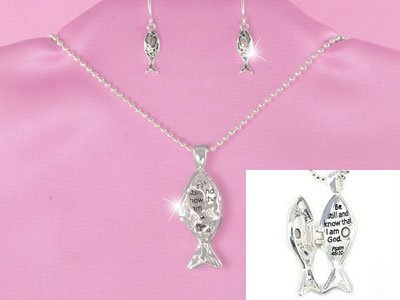 Religious Be Still and Know I am God Fish Locket Necklace Set
