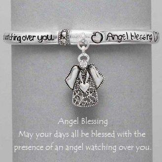 Religious Guardian Angel Blessing Heart Charm Bracelet