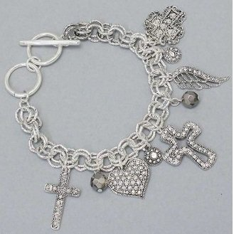 Chunky Cross Silver Tone Angel Wings Heart Love Charm Bracelet