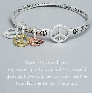 Religious Peace I Leave With You Charm Bracelet