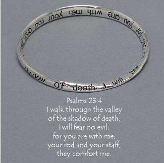 Religious Psalms 23:4 Walk Through The Valley Mobius Bangle Bracelet