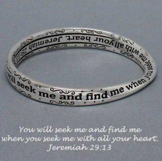 Religious Jeremiah 29:13 You Will Seek Me Bangle Bracelet