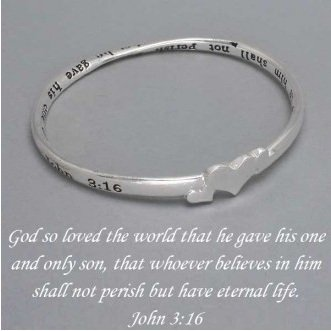 Religious John 3:16 For God So Loved the World Bangle Silver Tone Bracelet