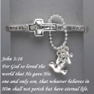 Religious John 3:16 God So Loved the World Charm Silver Tone Bracelet