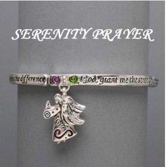 Religious Serenity Prayer AA Recovery Charm Silver Tone Bracelet