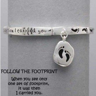 Religious Follow the Footprints Silver Tone Charm Bracelet