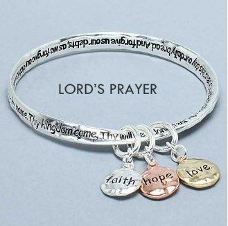 Religious Lords Prayer Faith Hope Love Charm Bracelet