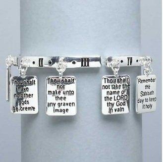 Religious Bible Ten Commandments Charm Bracelet