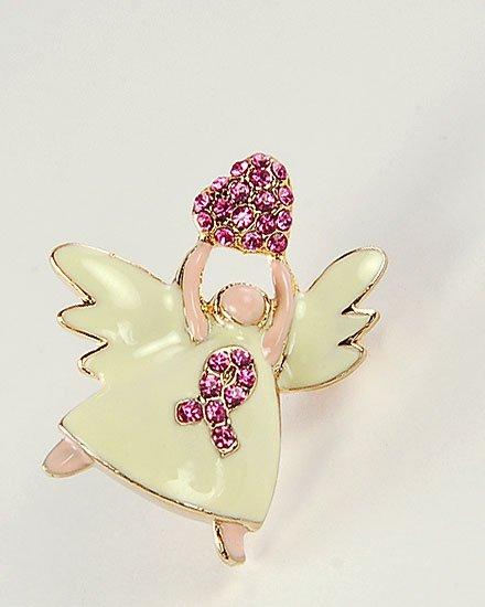 Pink Ribbon Breast Cancer Awareness Angel Brooch Pin