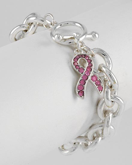 Pink Ribbon Breast Cancer Crystal Charm Bracelet