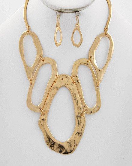 Hammered Gold Tone Necklace Set