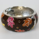 Brown Fall Leaf Bangle Bracelet