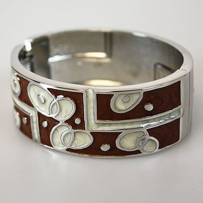 Brown Off White Bangle Bracelet