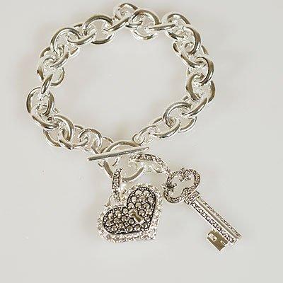 Key Heart Love Charm Bracelet