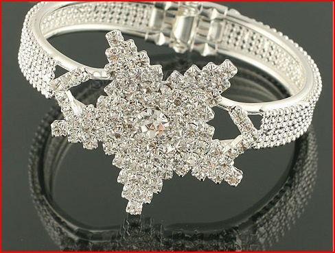 Snow Flake Crystal Bangle Bracelet